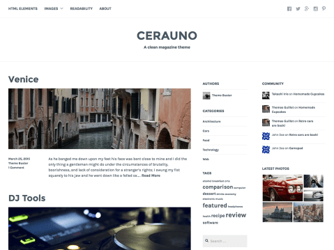 Cerauno is a polished, user-friendly magazine theme with plenty of customizable features. Add secondary content in up to five widget areas, brand your content with a Site Logo or Custom Header, and add Featured Images to grab your readers' attention.