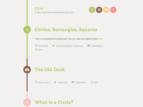 Circa is a minimal, one-column theme for your personal blog. Post formats are highlighted with an icon surrounded by a circle shape and displayed in a colorful style. The responsive design for this theme looks great on any device, large or small.