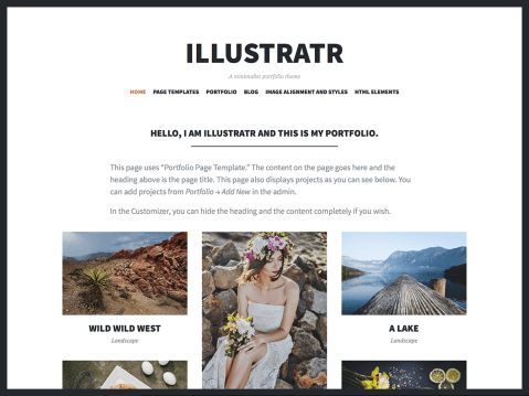 A minimalist portfolio theme.