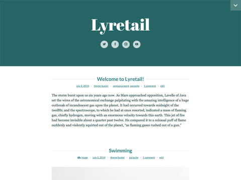 Lyretail is a minimalist, one-column theme that packs a powerful visual punch. It's great for writing-focused blogs that make use of large featured images. With prominent links to your favorite social networks and a convenient slide-down menu/widget area, Lyretail is sure to be your new favorite theme.