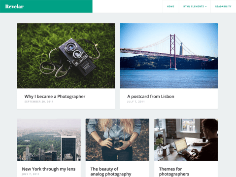 Revelar is a single-column blogging theme, designed to showcase your gorgeous photography and highlight your writing, while providing an immersive experience for your visitors.