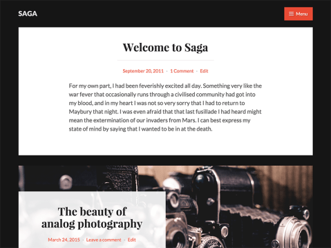 Tell your story with Saga, a tailor-made theme for writers, by a writer. Aside from impeccable typography and attention to detail, the theme supports several customization options so you can personalize your site's design.