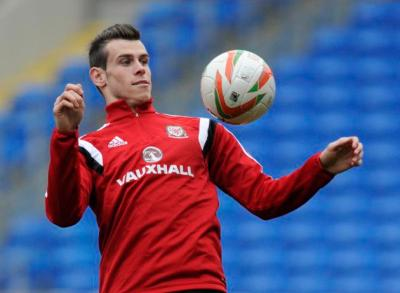 Wales' Gareth Bale takes part in a training session at Cardiff City Stadium in Cardiff, Wales