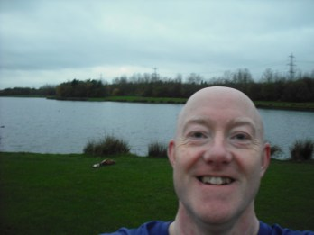 Selfie near northern lake