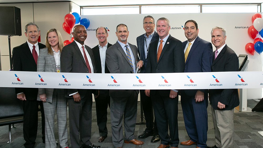 Leaders from American, Envoy and DFW Airport celebrate the opening of the Terminal E satellite