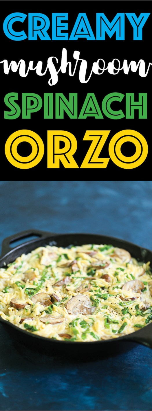 Creamy Mushroom Spinach Orzo -This creamy, hearty orzo dish makes for the best vegetarian side dish ever! Loaded with mushrooms, spinach and freshly grated Parmesan cheese for the most amazing garlic Parmesan cream sauce. You can also add chicken and turn this into a main dish!