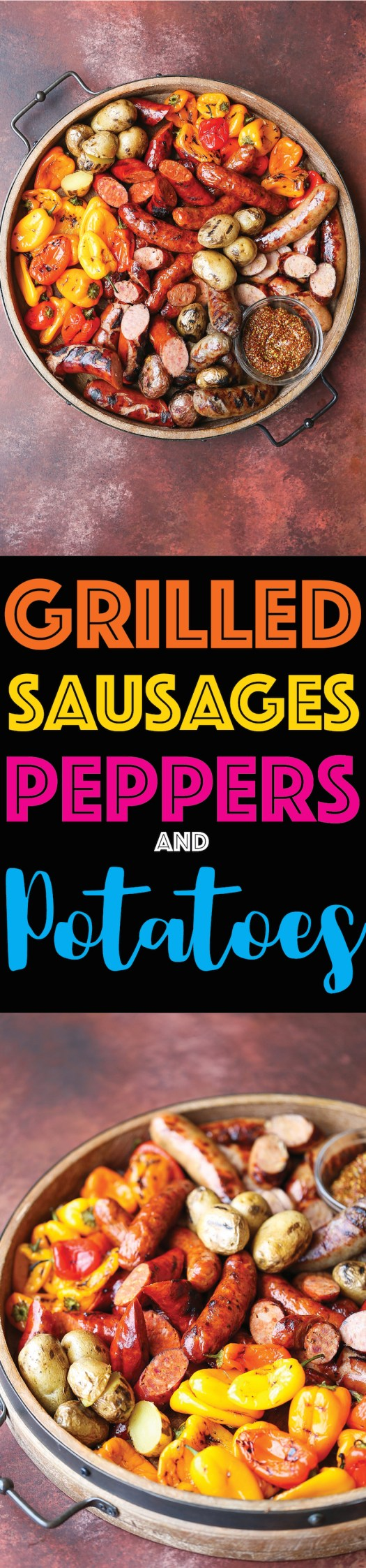 Grilled Sausages, Peppers and Potatoes - The most amazing grilled sausage platter for your next potluck or BBQ! This is easy to prepare and so impressive!