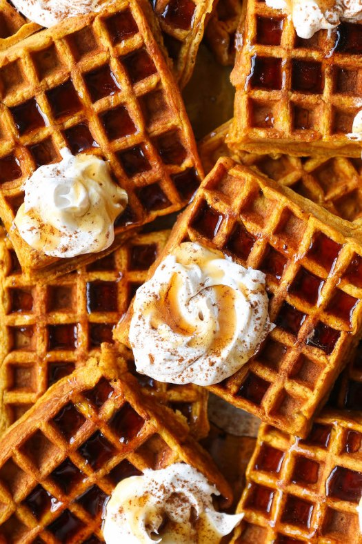 Pumpkin Spice Waffles - The best breakfast! Crispy golden on the outside, fluffy on the inside. You'll seriously want to make this all year long! SO GOOD.
