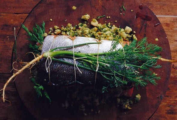 Herb Stuffed Baked Salmon