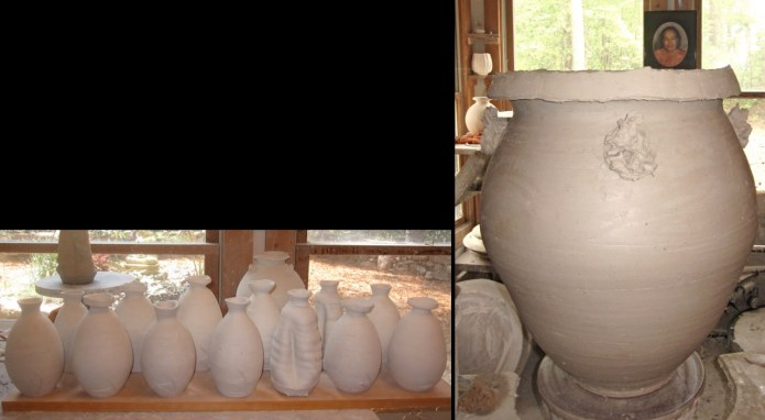 bottles and a large tsubo for the upcoming firing