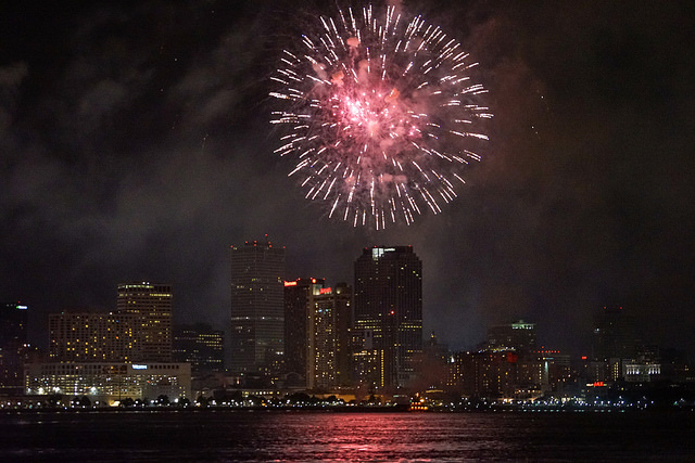 Ring in New Year s Eve in the French Quarter at Hotel Monteleone  Fireworks over the Mississippi River in New Orleans   Photo  Paul Broussard