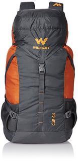 Wildcraft 45 Ltrs Grey and orange Rucksack, travel bags amazon, travel bags online, rucksack online india