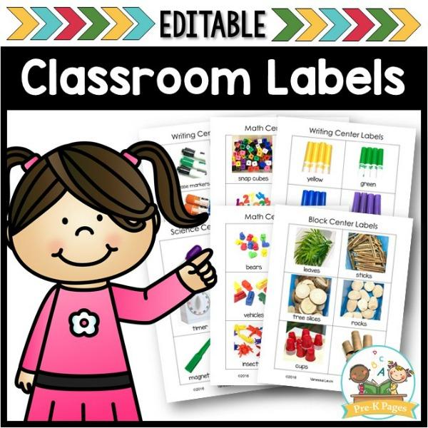 Editable Center Labels Pre K Pages