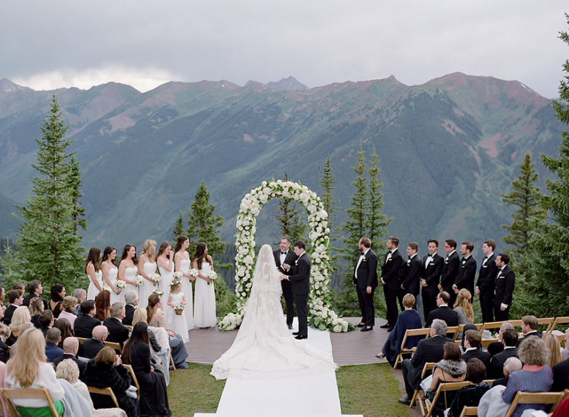 Elegant White Colorado Wedding with Views and Modern Greenery