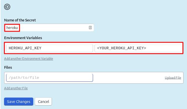 Screenshot of creating a heroku secret in CI/CD platform Semaphore