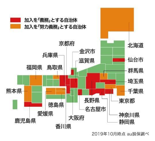 都道府県別自転車保険加入義務化状況