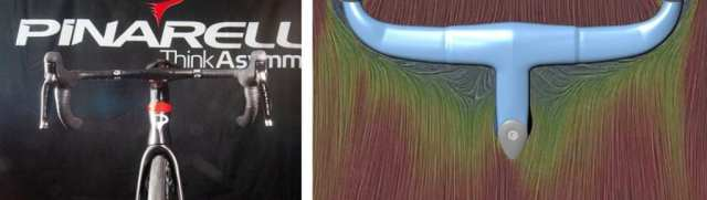 (左)正面からケーブルは一切見えない。各種ケーブルの内装化で、ケーブルハウジングが受ける空気抵抗の85%を軽減する。(右)シミュレーションの様子。従来のTalon Aeroと比較して空気抵抗を5%軽減している。