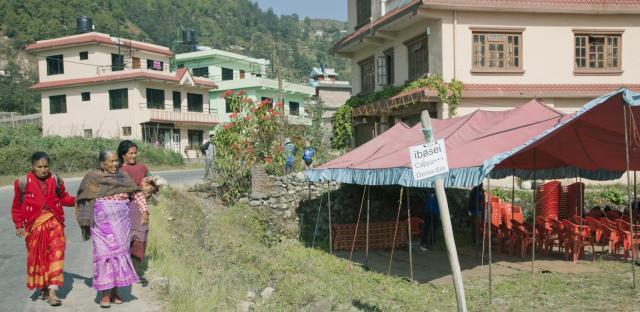 実証試験をしたネパールの山村=茨城製作所提供