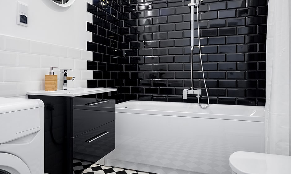 bathroom designs black and white tiles