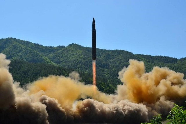 The intercontinental ballistic missile Hwasong-14 is seen during its test in this undated photo released by North Korea's Korean Central News Agency (KCNA) in Pyongyang, North Korea July 5 2017. KCNA/via Credit: Reuters/Files