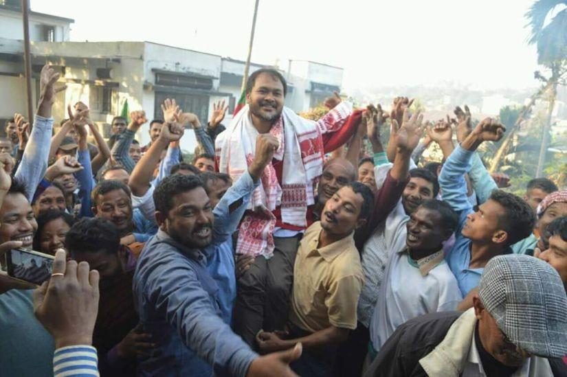 Akhil Gogoi seen in Guwahati with his supporters after his release. Credit: Special arrangement