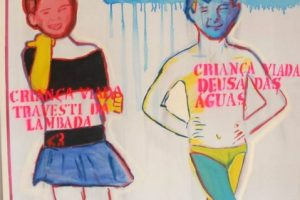 """""""Criança viada"""", by Bia Leite, attracted a wave of moralistic attacks on the grounds that it promotes pedophilia. But the author explains that it is a denouncement of violence against children, humiliated as """"queers"""" (viada) if they do not behave as required by the dominant machista culture. Credit: Courtesy of QueerMuseu"""