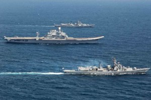 Indian Navy ships on patrol. Credit: Twitter/@indiannavy
