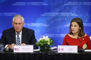 US Secretary of State Rex Tillerson speaks with Canada's Minister of Foreign Affairs Chrystia Freeland during the Foreign Ministers' Meeting on Security and Stability on the Korean Peninsula in Vancouver, British Columbia, Canada, January 16, 2018. Credit: Reuters/Ben Nelms