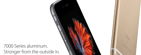 The new iPhones use stronger aluminium than the iPhone 6 and iPhone 6 Plus. Image credit Apple