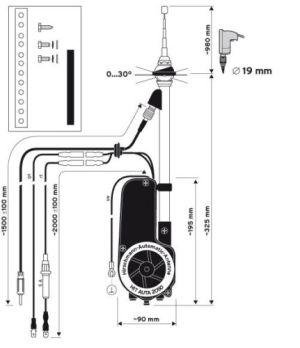 Power Antenna Aerial AM FM Radio Mast kit Saab 93 viggen