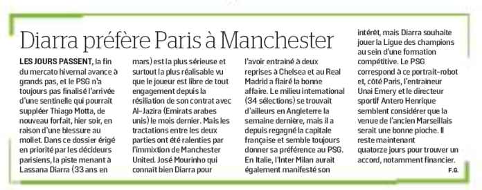 Le Parisien report Manchester United and Paris-Saint Germain want Lassana Diarra