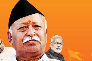 BJP president Amit Shah, RSS chief Mohan Bhagwat, Prime Minister Narendra Modi. Illustration credit: parliamentarian.in