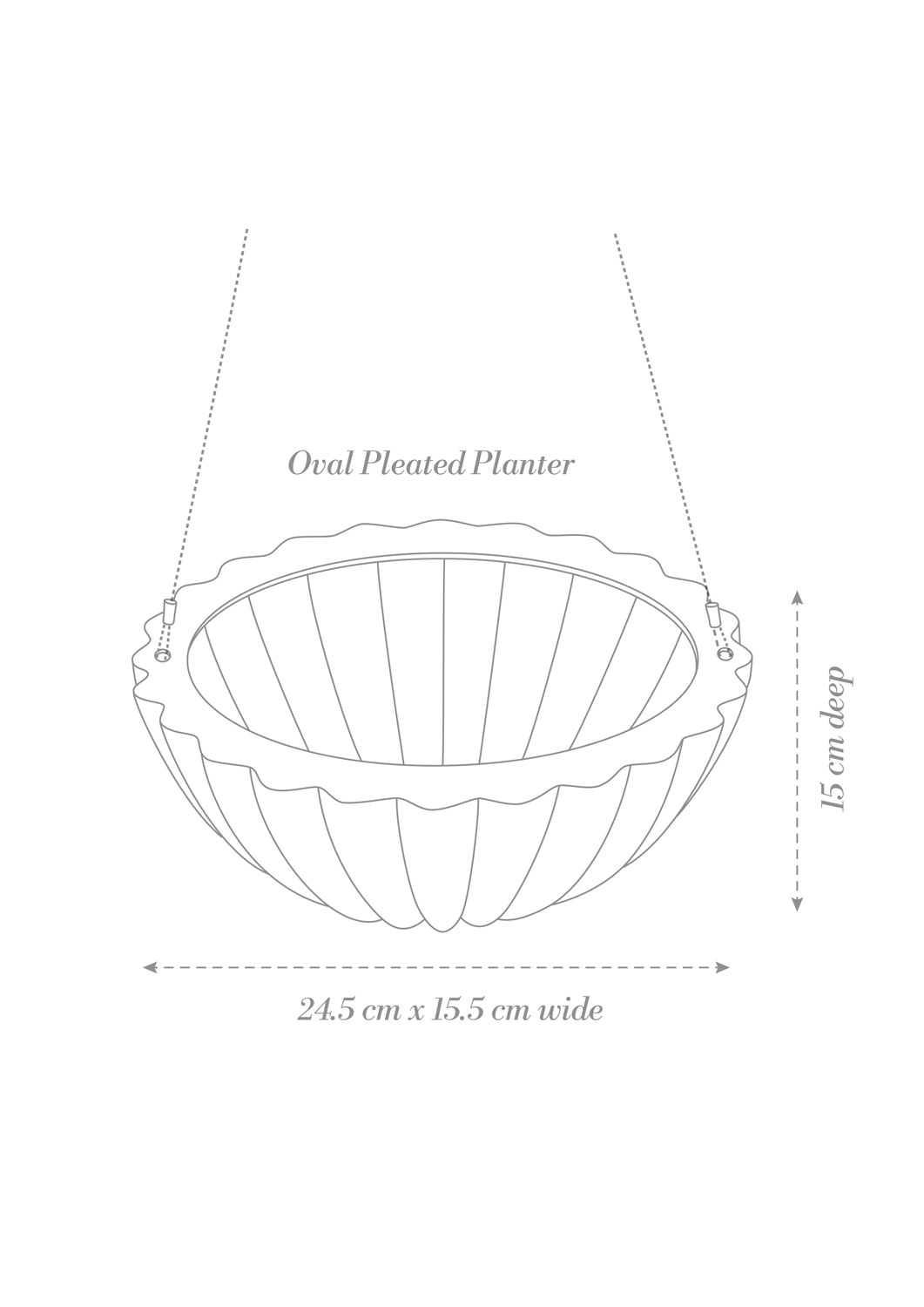 Oval Pleated Planter White