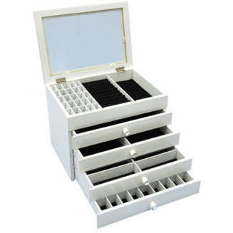 5 Tier High Gloss Wooden Jewellery Box In White Buy