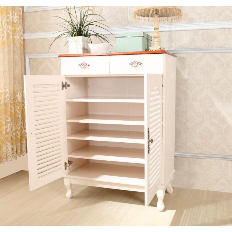 French Provincial White Shoe Cabinet With 2 Drawers Buy