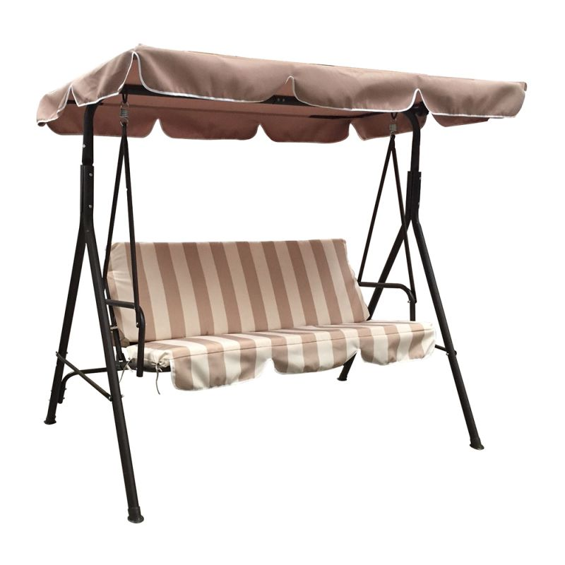 Jhoola 3 Seat Outdoor Swing Chair In Brown W Stripe Buy Hanging Chairs