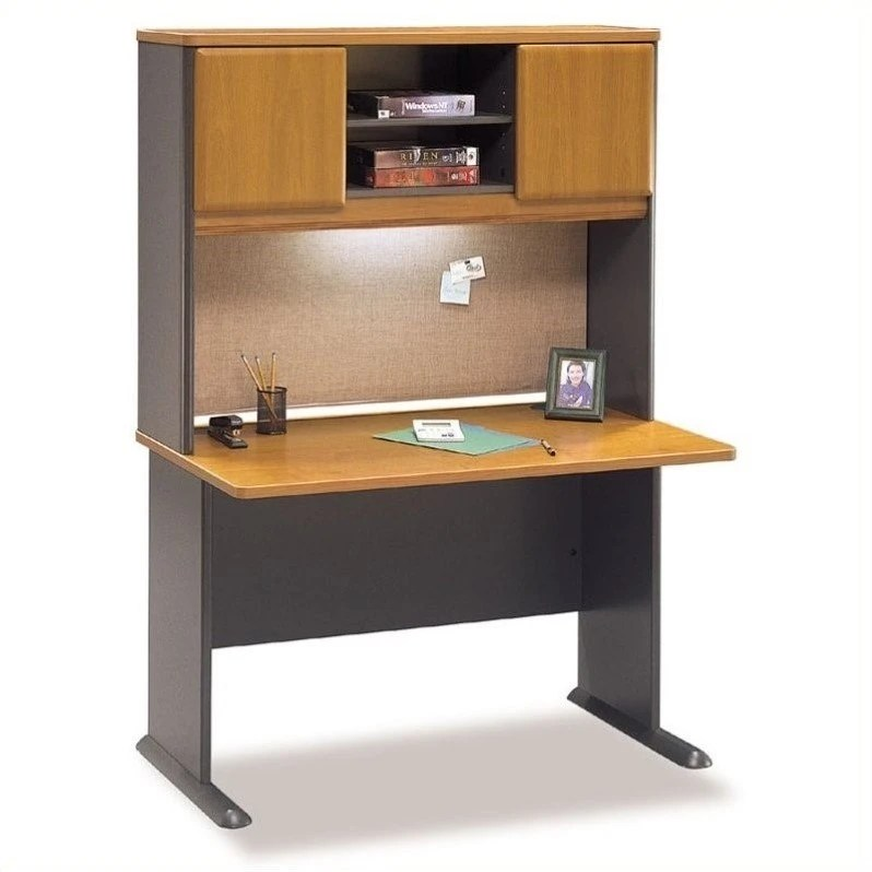 Bbf Bush Business Series A 48 Quot Desk With Hutch Natural