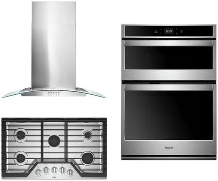 whirlpool 3 piece kitchen appliances package with woc54ec0hs 30 electric double wall oven microwave combo wcg97us6hs 36 gas cooktop and wvw51uc0fs