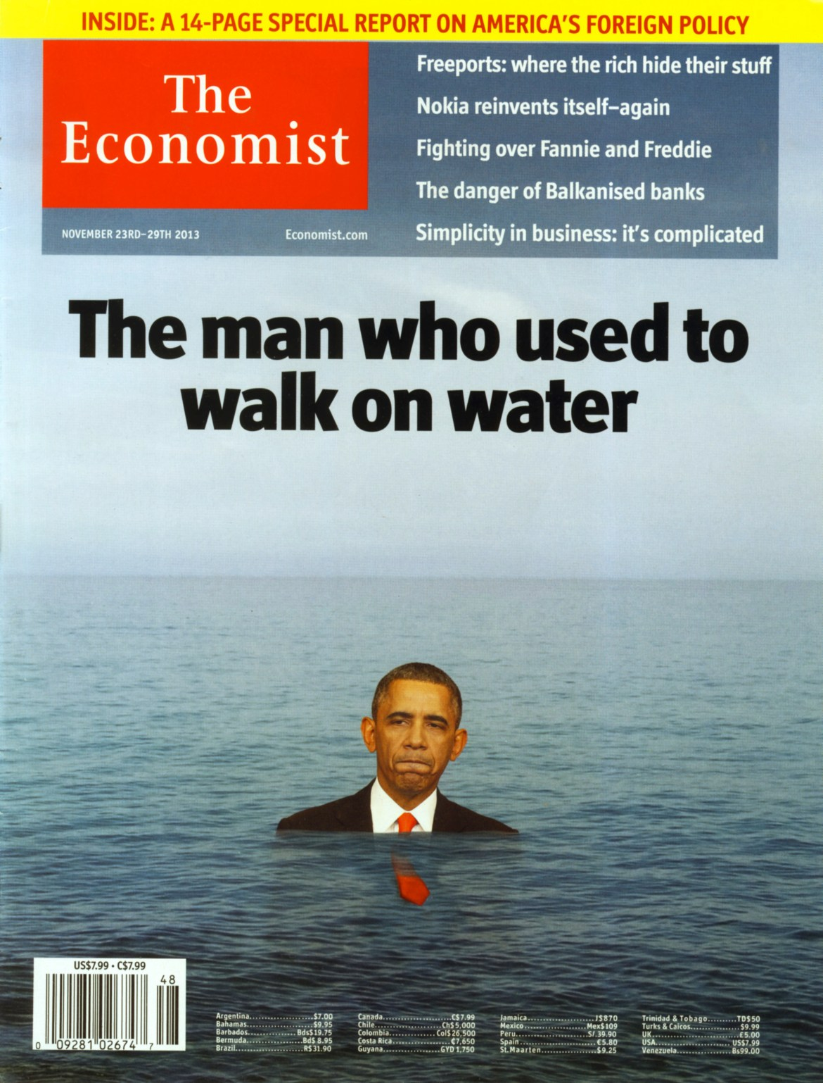 The Economist's November 29 2013 issue references the high expectations placed on the President