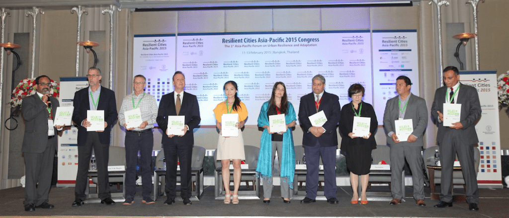 Representatives from ICLEI and the Rockefeller Foundation at the launch of the ICLEI ACCCRN Process workbook