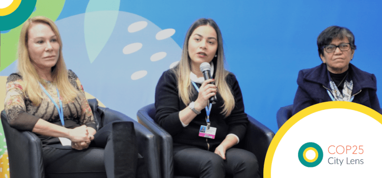 Mayor Fernanda Hassem (centre) shares with the audience the many challenges the people of Brasiléia face due to climate change, as Mayor Surita of Boa Vista (left) and Mayor Chaves of Maranhão (right) look on.