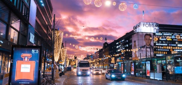 Helsinki Streetscape with a truck at sunrise