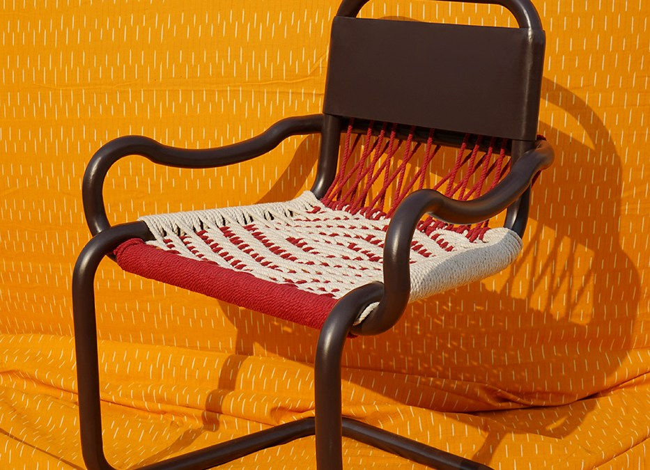 chair on an orange background
