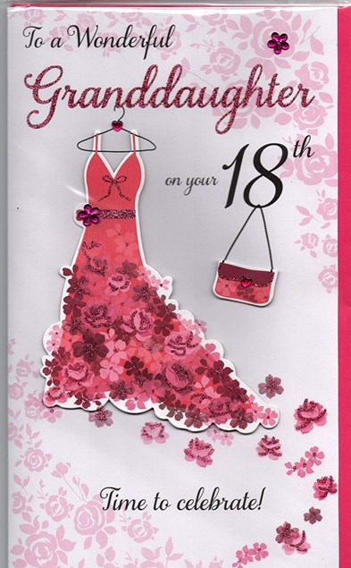 Happy 18th Birthday Granddaughter 3 D Large Card Dressing Table Design