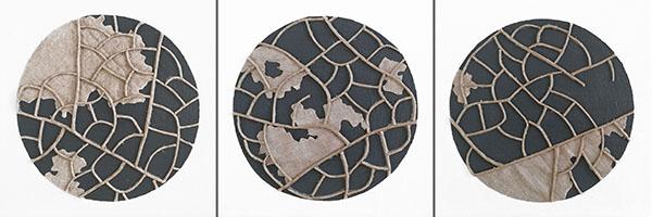 n°16 - n°17 - n°18, 2019 - spago, lino e acrilico su cartone telato - 15 x 15 cm