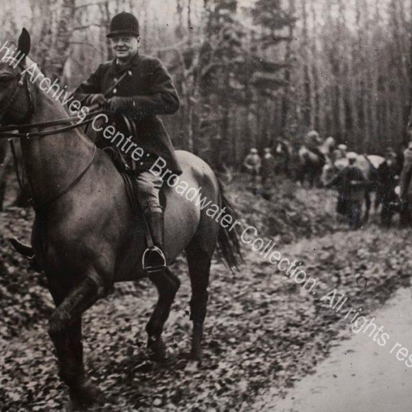 Photo shows WSC on horseback.