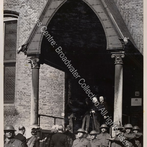 Photo shows WSC being greeted at the entrance of Knights Hall