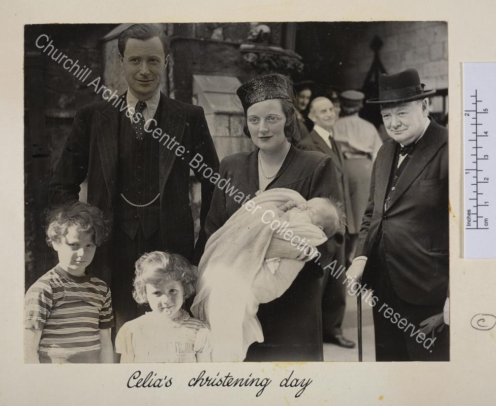 Photo shows Diana Sandys [earlier Diana Churchill] holding Celia Sandys