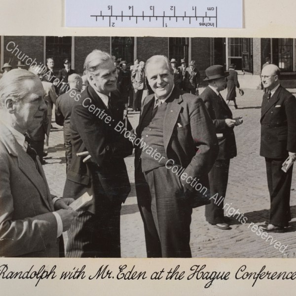 Photo shows Randolph Churchill and Anthony Eden [later 1st Lord Avon] standing together