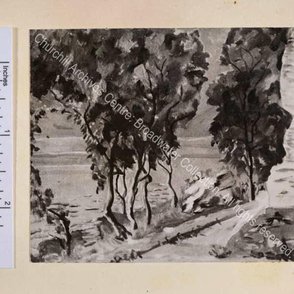Photograph of WSC's painting of a scene on Lake Como showing trees next to the lake. [WSC took about an hour to create this painting].